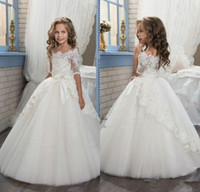 Wholesale boat neckline sleeves wedding dresses online - 2017 Elegant Ivory Half Sleeve Boat Neckline Holy First Communion Flower Girls Dresses Appliques Tulle Girls Pageant Dresses