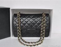 Wholesale Blue Quilted Chain Bag - FY Large Classial 30CM Jumbo Quilted Chain Black Genuine lambskin Leather Double Flap Fashion Shoulder Chain Bags Gold Hardware