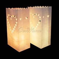 20Pcs / lot coeur de thé lumière Holder Luminaria Paper Lantern Candle Bag pour Noël Party Wedding Decoration Products