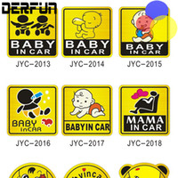 Wholesale Baby Board Reflective - Car-Styling Cartoon Car Stickers Vinyl Decal Baby on Board Baby in Car Mom in Car yellow Funny Sticker