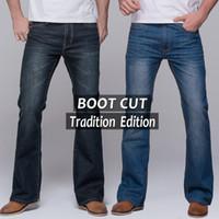 Wholesale Jeans Boots Men - Wholesale-Mens jeans tradition boot cut leg fit flare jeans famous brand deep blue male jeans pants