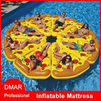 Wholesale Pool Rafts - Air Mattress Swimming Pool Water Toy Giant Yellow Inflatable Pizza Slice Floating Bed Raft Swimming Ring