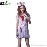 Wholesale Nursing Belts - Halloween Adult Costume Halloween Horror Bloody Nurse Dress Belt Blood Nurse Doctor Set ZH01454