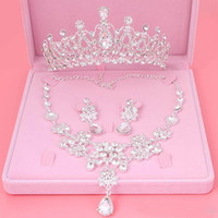 Wholesale Antique Wedding Jewelry Sets - 2018 Bling Bling Set Crowns Necklace Earrings Alloy Crystal Sequined Bridal Jewelry Accessories 2017 Wedding Tiaras Headpieces Hair
