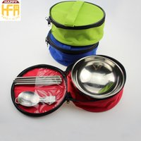 Wholesale Camp Tableware Sets - Folding Bowl Spoon Chopsticks Bowl Set Portable Tableware Dinnerware Folding Spoon Eco-Friendly For Travel Camping Mixed Colors