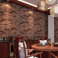 Wholesale Rock Roll Decor - Wholesale- Red Grey Coffee 1 Pc PVC Realistic Real Look Bricks Rock Wall Paper Prepasted Adhesived Wallpaper Wall Stickers Home Decor New