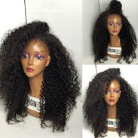Wholesale Indian Remy Kinky Full Lace - Pre Plucked 150% Density Full Lace Wigs For Black Women Brazilian Kinky Curly Human Hair Wigs Non Remy Swiss Lace Wig