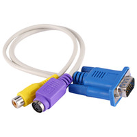 Wholesale Rca S Video Pin - 300pcs 30cm 1Ft VGA to RCA S-Video S Video Cable Adapter Converter 15 pin Composite AV TV Out Adapter