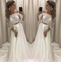 Wholesale pink lace skirt top online - Modern New Designed Two Pieces A Line Wedding Dresses Lace Top Satin Skirt Long Wedding Reception Party Wear Gowns Bridal Dress