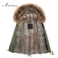 Wholesale Genuine Rabbit Jackets - Wholesale- real rabbit fur mens fur parka with big genuine raccoon collar,High quality 2015 New fashion Mens winter outwear jacket
