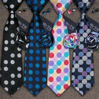 Wholesale Silk Neck Ties Xl - Hi-Tie Polka Dot Blue Black Neck Tie Set Gravatas Neckwear Pocket Square Cufflinks 100% Silk Tie for Mens Business Wedding Party