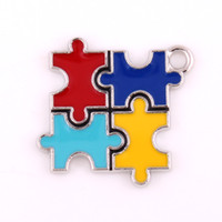 Wholesale Slide Enamel - 10pcs lot Diy Jewelry Making Rhodium Plated Enamel Finish Alloy Autism Puzzle Piece Jigsaw Puzzle Charm