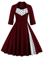 Wholesale Knee Length Swing Cocktail Dress - Women's Retro Elegant Dress 1 2 Sleeve Contrast Straight Skirt Swing 1950s Vintage Pinup Formal Tea Dress A-Line Cocktail Gowns