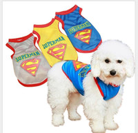 Wholesale Dogs Wearing Cute Costumes - Casual New 2017 Cute Pet Dog Cat Puppy Clothes Costume Superman Mesh Vest Apparel Dogs Shirt Coat Breathable Sports Wear Black Yellow Gray