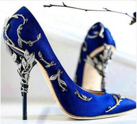 Wholesale Satin Low Heel Shoes - Ornate Filigree Leaf Women Pumps Fashion Chic Satin Stiletto Heels Low-cut Vamp Pointed Toe High Heel Bridal Shoes Women