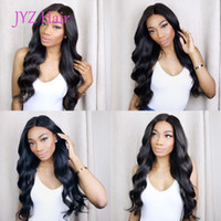 Wholesale body wave human hair wigs - Natural Color Full Lace Wigs Body Wave Human Hair Brazilian Peruvian Malaysian Indian Body Wave Lace Front Human Hair Wigs With Baby Hair