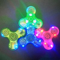 speaker flash - LED Bluetooth Speaker gyro Exclusive Style Crystal transparent Hand Spinner flashing LED lamp Bluetooth speaker fidget spinner finger