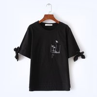 Wholesale Loose Shirt Shorts Korean - Hot Sale Plus Size 2017 Summer Korean Cuffs Bow Women's T Shirt Embroidery Large Size Short Sleeve Ladies Top Loose Casual Cotton T-shirt