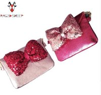 Wholesale Hobo Accessories - Lovely Children one shoulder bag bow coin purse cute Sequins girls messenger bag baby accessories Free Shipping