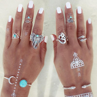 Wholesale turquoise elephant ring for sale - Group buy Retro Bohemia snake elephant kylin eight piece Turquoise Ring Set Rings for Women