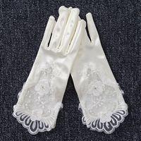 Wholesale Satin Beaded Bridal Gloves - 2017 Beautiful Elegant Wedding Lace Gloves Cheap Ivory Satin Lace Appliqued Pearl Beaded Party Bridal Gloves Wrist Length