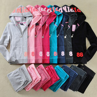 Wholesale Cropped Hoodies Wholesale - Women Pink Tracksuits Velvet Suits Tops Hoodie Sweatshirt Pants Autumn Long Sleeve Crop Top Hooded Pullovers Two Piece Sets Lady Cloth F144