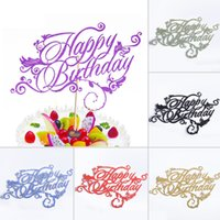 Wholesale Birthday Fonts - Wholesale-Artistic Fonts Happy Birthday Cupcake Cake Topper Cake Flags Family Friends Birthday Party Baking Creative Decoration Supplies