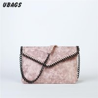 Wholesale Sliver Clutches - Wholesale- New women Small envelope Handbag Black sliver color chain clutch ladies bags messenger crossbody bags