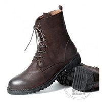 Wholesale Crazy Motorcycle - Retro Bandage Thread High Street Funky Gum-rubber Outsole Crazy Horse Fashion Matte Individuality Mens Winter Biker Boots