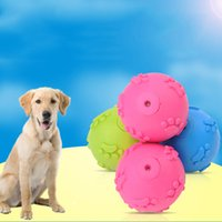 Wholesale Play Grounds - 6Cm Diameter Dog Toy Ball Footprint Pattern TPR Rubber Play Toys Sound Making Teeth Grinding Pet Supplies Eco-Friendly Safe Toy 3 Colors