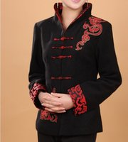 Wholesale Chinese High Collar Jacket - Wholesale- High Quality Black Women's Cashmere Jacket Chinese Traditional Woolen Coat Thick Outerwear Flower Size S M L XL XXL XXXL T067