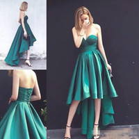 Wholesale One Shoulder Corset Back Gown - Cheap Short Prom Dresses Ball Gown Hunter Green Sweetheart Corset Back Satin Hi Lo Graduation Homecoming Party Dress Gowns for Cocktail 2017