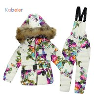 Wholesale Down Coat Overall Girl - Wholesale- Winter Clothing Set for Boys Girls Flowers Down Coat +Overalls Suits Warm Windproof Snowsuit Toddler Children Ski Suit Sintepon