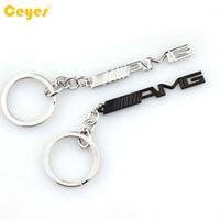 emblèmes amg achat en gros de-Clé de voiture porte-clés AMG Badge Car Emblèmes Pour Mercedes Benz A45 SLS AMG E63 Porte-clés Accessoires Auto Car Styling