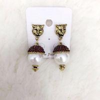 Wholesale Animal Vintage Earrings - New brand Vintage Crystal Leopard Stud Earrings for Women Fashion jewelry Pearl earrings Pendant Antique gold Bridal brincos Female Bijoux