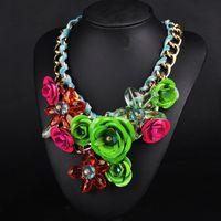 Wholesale Resin Flower Bib Necklace - YJY Fashion Chain Women Crystal Flower Choker Bib Chunky Statement Necklace Jewelry for Prom Party