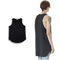 Wholesale Wholesale Oversized Shirts - Wholesale- 2016 new summer NEW TOP kanye west oversized Men Tank Tops hiphop Fashion Casual cotton solid extended curved hem vest T Shirt