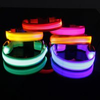 Discount led collar ems - 2.5cm width LED Flashing Flash Luminous New Adjustable Dog Puppy Pet Cat Collar Necklace Neck Lace Collars DHL FEDEX EMS FREE SHIPPING