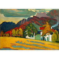 Wholesale hand painted mountain for sale - Group buy Hand Painted abstract paintings Wassily Kandinsky Houses and Mountains art oil canvas High quality home decor