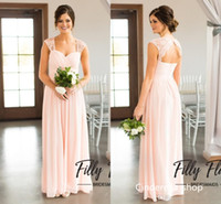 Wholesale Customized Charms - Champagne Bridesmaid Dresses A Line Portrait Charming Hollow Back Sleeveless Chiffon Floor Length Long Cheap Wedding Guest Gowns