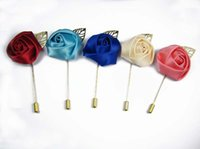 Wholesale Rosette Brooch - Free shipping! 12PCS LOT satin rosettes flowers gold stick pins Boutonniere Sticks Brooch Pin Suits Clothing Accessoriessory