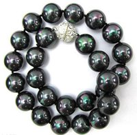 Wholesale South Sea Shell Pearls Wholesale - 10mm Natural Black South Sea 2pc Shell Pearl Necklace 18inch> free shipping