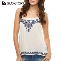 Wholesale Natural White Story - Wholesale- GLO-STORY Brand 2016 Summer T shirt Women Embroidery Floral White Camis Plus Size Casual T shirt Women tops
