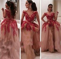 Wholesale Military Royal - Myriam Fares 2017 Celebrity Military Ball Gowns Two Pieces V Neck Red Lace Sequin Nude Tulle Women Wear Arabic Prom Formal Evening Dresses