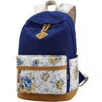 Wholesale Vintage Canvas Backpack Floral - Wholesale- Brand High Quality Floral Leather Canvas Bag Backpack School for Teenager Girl Laptop Bag Printing Backpack For Women APB03