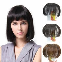 Wholesale Clip Fringe Bangs - Sara 100% Human Hair Bang Clip in Neat Bangs Straight Hair Clip in Fringe Bangs Hair Extensions 10*14CM Frange Janet Black & Brown Hairpiece