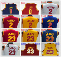 Wholesale Top Sale Cheap Jerseys - Youth Basketball #23 LeBron James Jersey Cheap Sales Kid #2 Kyrie Irving Jerseys Top Quality Cheap 100% Stitched #0 Kevin Love Jersey