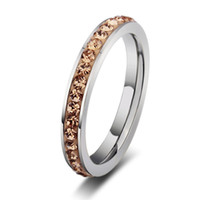 Wholesale Green Coffee China - Fashion AAA Green Blue Pink Coffee Austrian Crystal Engagement Rings Simple 316L Stainless Steel Wedding Rings for men women