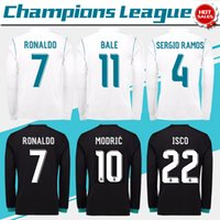 Wholesale Ucl L - New Real Madrid home white Champions League Long Sleeve Soccer Jersey 17 18 UCL away black soccer shirt 2018 Ronaldo Football uniforms
