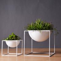 weiße pflanze für hausdekoration großhandel-Weiß / Schwarz Moderne Tabletop Vase Metall Quadratische Blume Blumentopf Tablett Cube Pergola Garten Pflanzen Blume Heimtextilien